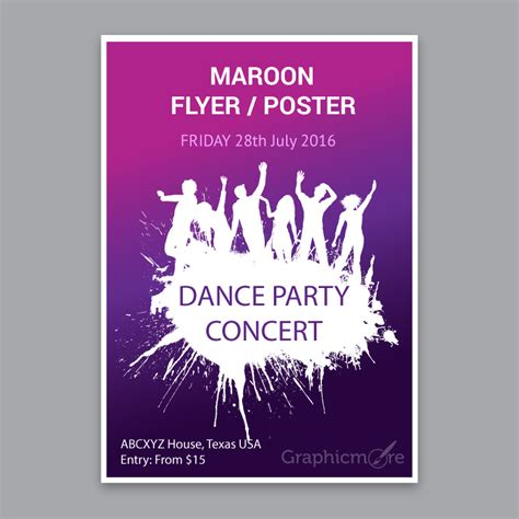 poster design vector file concert party maroon flyer or poster design free vector