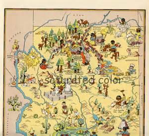arizona landmarks map arizona map original 9 x 13 vintage 1930s picture map of