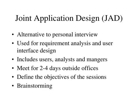 joint application design definition ppt ways of collecting information powerpoint