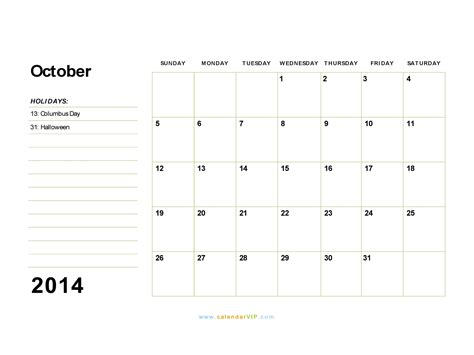 october 2014 calendar template october 2014 calendar blank printable calendar template