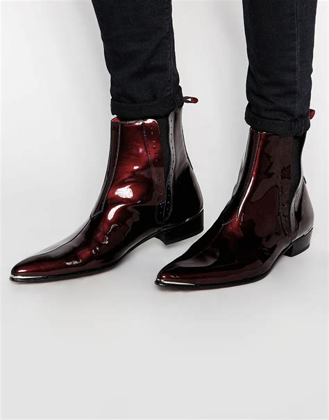 mens patent leather boots lyst jeffery west leather patent chelsea boots in