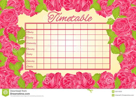Le Fashionistacom Designer Weekly Pink by Timetable Weekly Schedule With Pink Roses Vector Stock