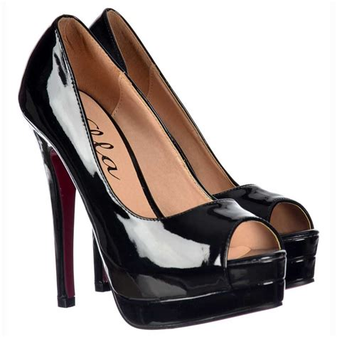 black open toe high heels ella peep toe platform high heel stiletto shoes all