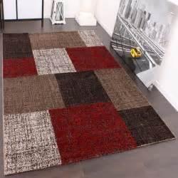 teppiche designer teppich muster karo creme rot braun meliert wohn