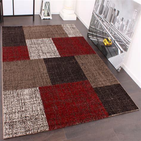 teppiche 120x170 designer teppich muster karo creme rot braun meliert wohn