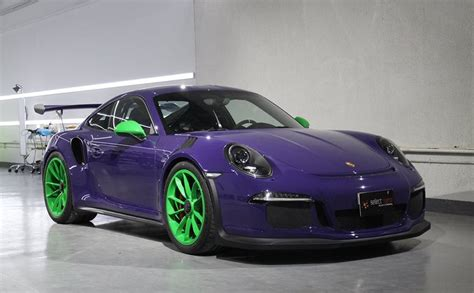 porsche gt3 green loopy ultraviolet porsche 991 gt3 rs with green wheels