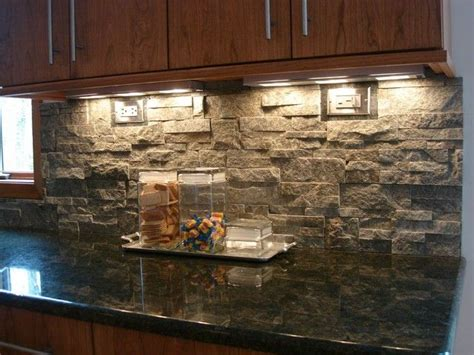 rock kitchen backsplash stacked tile backsplash tile home design ideas kitchen