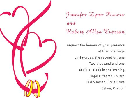 hearts wedding invitation template vector