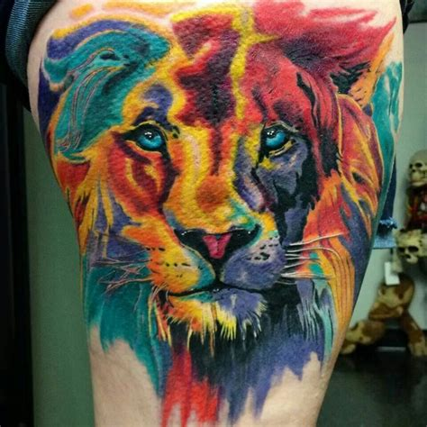 colorful lion tattoo beautiful water color absolutely stunning