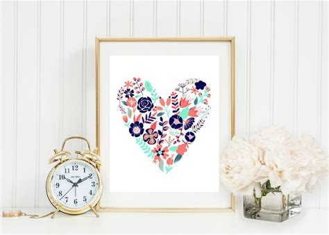 mint and coral home decor coral navy and gold floral heart wall art coral mint