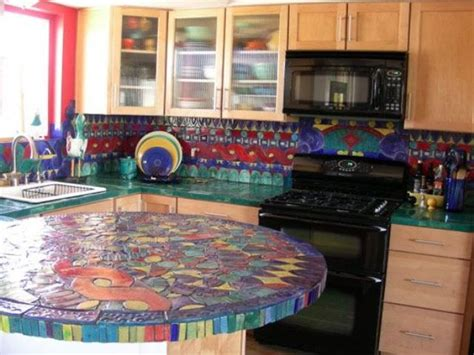 Kitchen Mosaic Designs 30 Unique Kitchen Countertops Of Different Materials Digsdigs