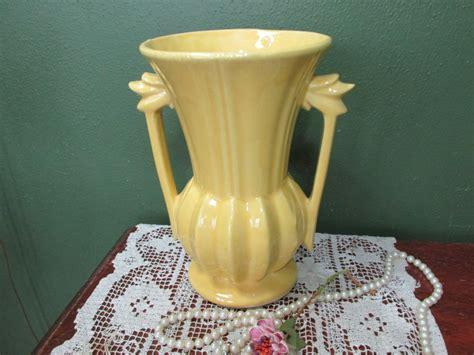 Yellow Mccoy Vase by Mccoy Pottery Vase Large Yellow Handle 1950s