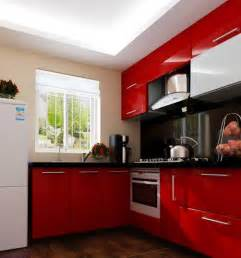 White And Red Kitchen Cabinets - 3d rendering of red kitchen cabinets interior design