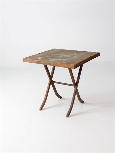 Small Wood Folding Table Vintage Wood Folding Tables And Floral Tops On