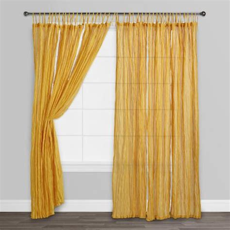 golden yellow curtains golden yellow tie top crinkle voile curtains set of 2