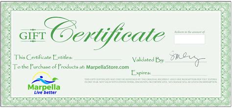 store gift certificate template marpella store marpella wellness gift certificate