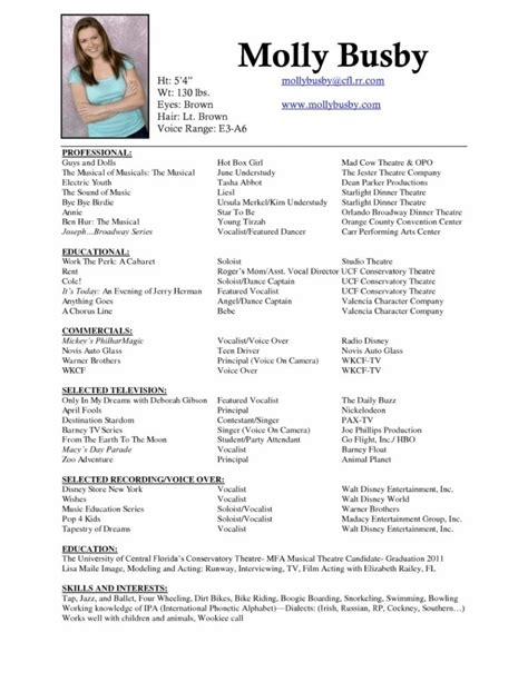 Sle Musical Theatre Resume Musical Theatre Resume Exles Best Resume Collection