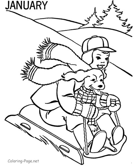 january coloring pages printable winter coloring book pages january sledding