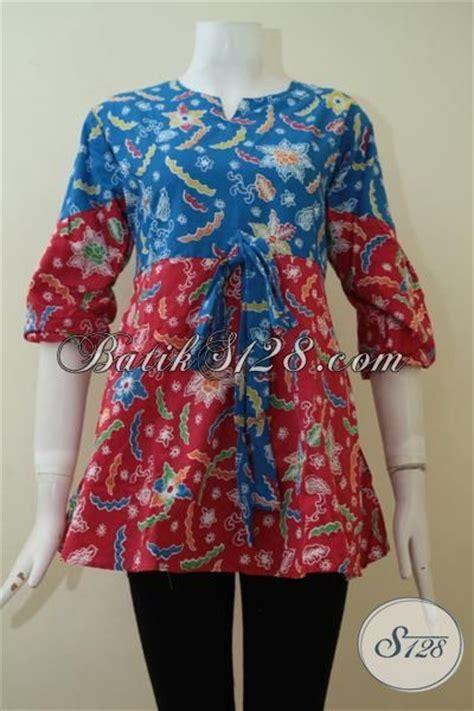 Baju Atasan Warna Biru atasan baju batik kombinasi warna biru merah cerah cocok untuk wanita sukses energik bls2280p