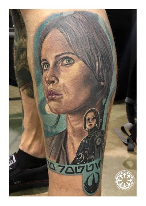 rogue tattoo color portrait of jyn erso from rogue one by chris jones