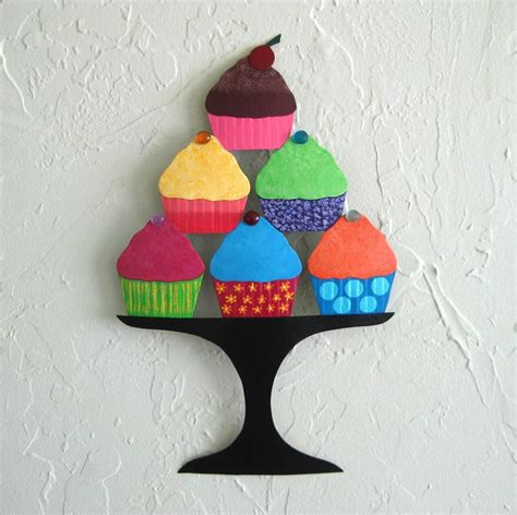 cupcake home decor hand crafted handmade upcycled metal cupcakes wall art