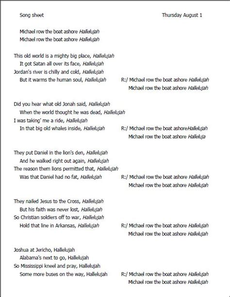 row the boat ashore slave spiritual song sheet to sing along lyrics courtesy of http www