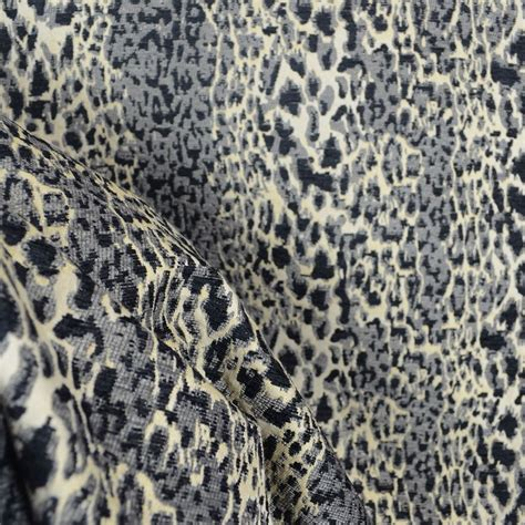 Animal Print Fabric For Upholstery by Purrfect Graphite Grey Black Chenille Animal Print Fabric