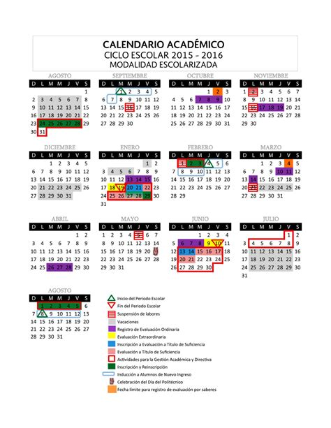 calendario escolar del ipn 2016 calendario acad 233 mico ipn