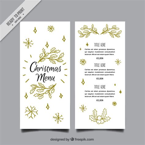 elegant christmas menu template with leaves sketches