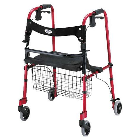 4 wheel walker with seat and basket cruiser de light four wheel folding walker