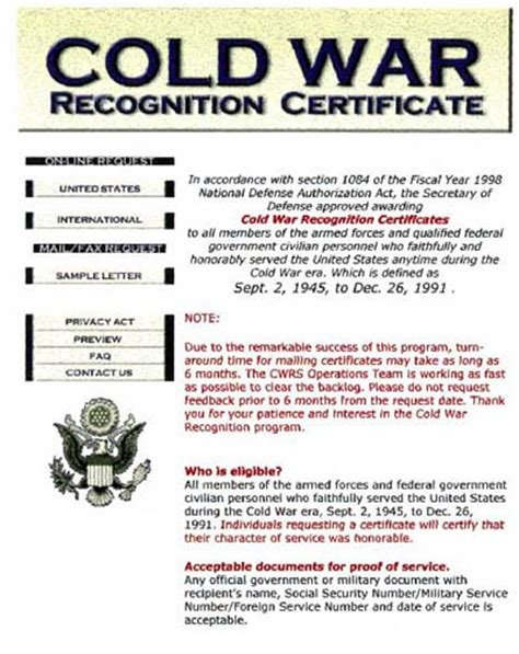 cold war medal application form pin cold war recognition certificate on pinterest