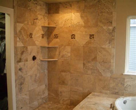 Travertine Tile Bathroom Shower Travertine Master Bathroom Tile In