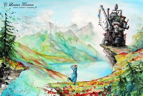 studio ghibli studio ghibli inspired watercolor paintings by louise