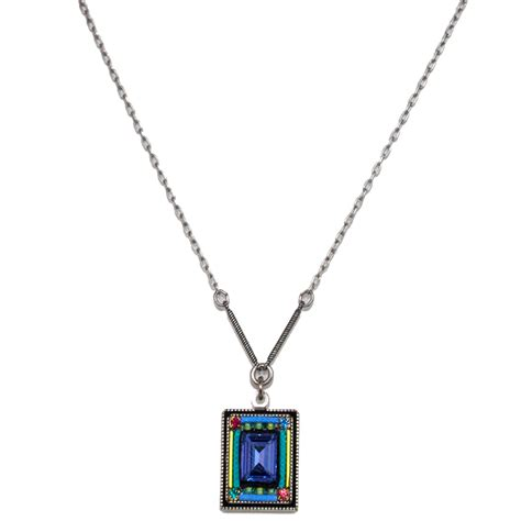 Multi Color Pendant Necklace multi color rectangular pendant necklace 8644 firefly