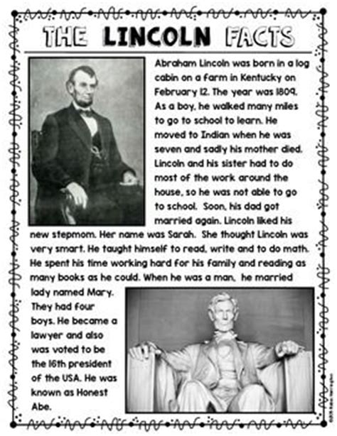 biography of abraham lincoln worksheet answers abe lincoln informational reading text dependent