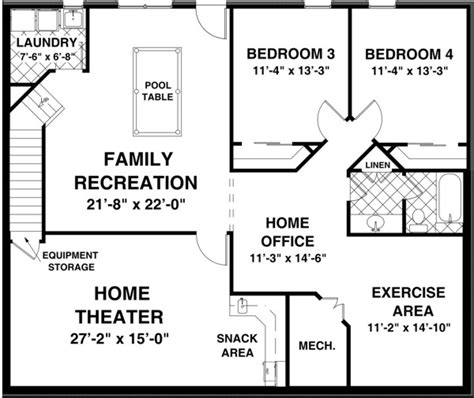 basement floor plan the creekstone 1123 2 bedrooms and 2 baths the house designers