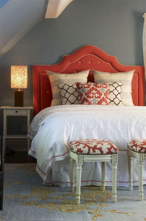 red tufted headboard contemporary bedroom meredith