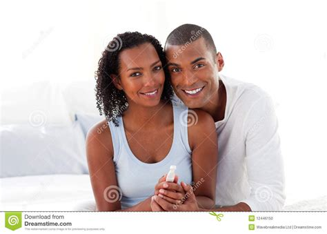 Couples Finding Couples Finding Out Results Of A Pregnancy Test Stock Photo
