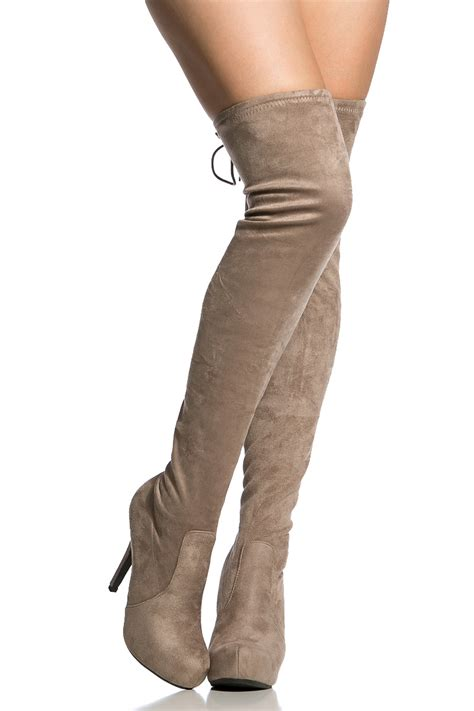 taupe faux suede thigh high boots cicihot boots catalog