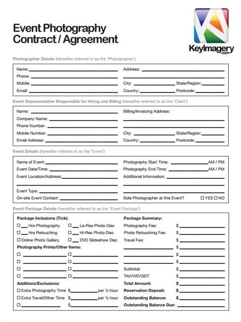 photographer contracts templates 20 photography contract template
