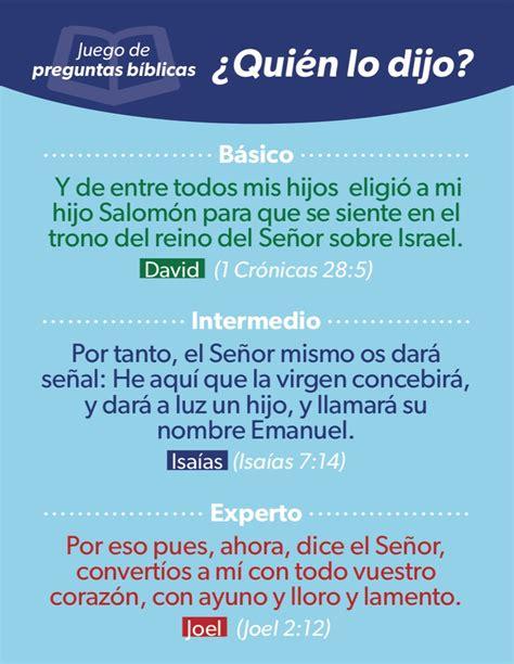 juegos de preguntas biblicas para jovenes adventistas 191 qui 233 n lo dijo juego de preguntas b 237 blicas luciano s