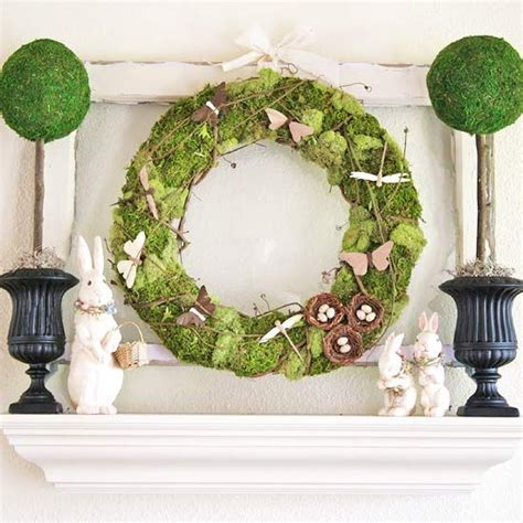 real home spring and easter mantel decorating ideas spring grapevine wreath and holiday crafts