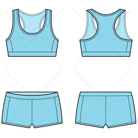draw template for sport s sports bra boy set fashion flat template