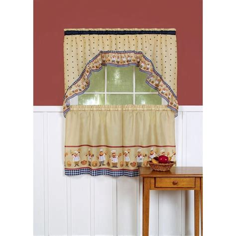 italian chef window curtain set kitchen swag 36 quot tiers