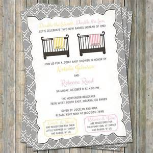 joint baby shower invitation crib and blanket