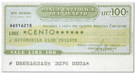banca cattolica banca cattolica veneto miniassegni lire 100