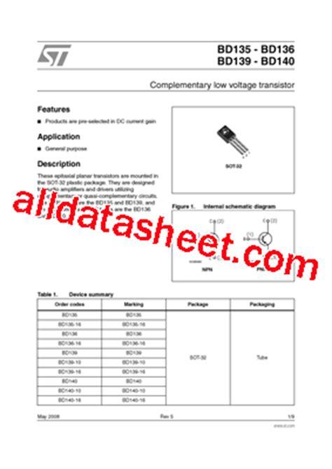 transistor bd139 smd bd135 datasheet pdf stmicroelectronics