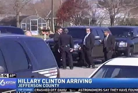 only six greet clinton at tx airport and