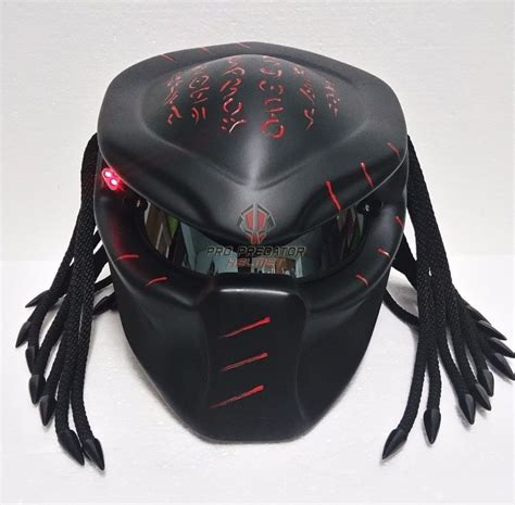 custom predator motorcycle black helmets airbrush paint
