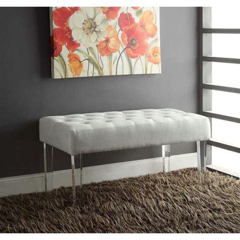 home decor benches linon home decor ella white glitz bench 368261gltz01 the